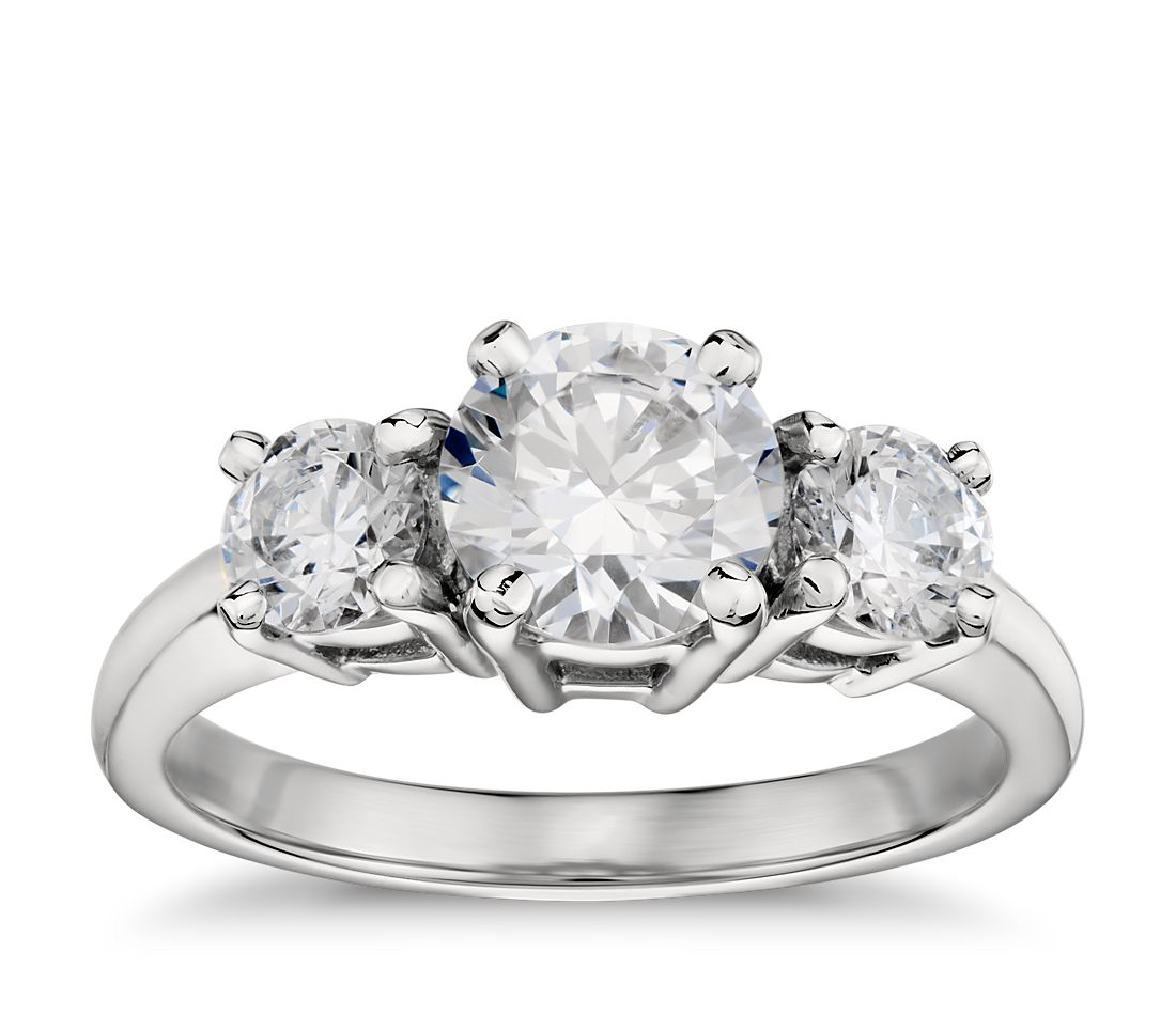 classic three stone diamond engagement ring in platinum - Stone Wedding Rings