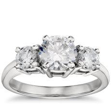 鉑金三石鑽石訂婚戒指