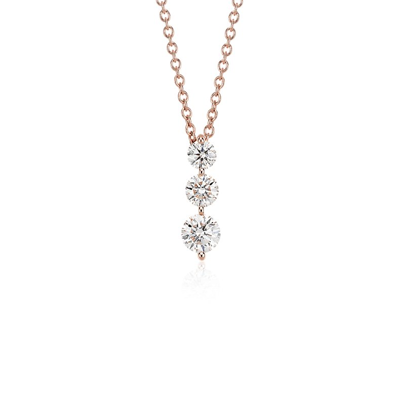Three-Stone Drop Diamond Pendant in 18k Rose Gold (1 ct. tw.)