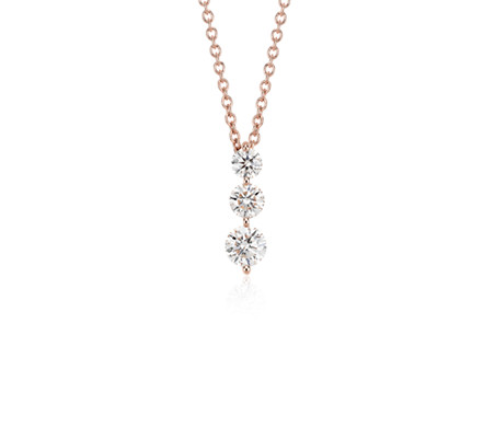 Three stone drop diamond pendant in 18k rose gold 1 ct tw blue three stone drop diamond pendant in 18k rose gold 1 ct tw aloadofball