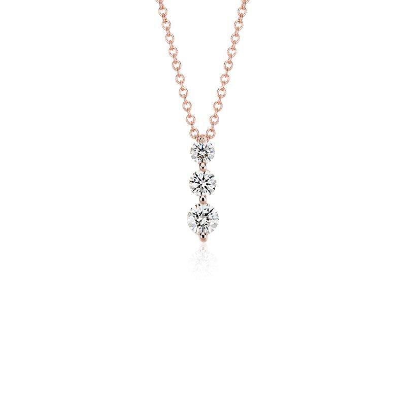 Three-Stone Drop Diamond Pendant in 18k Rose Gold (1/2 ct. tw.)