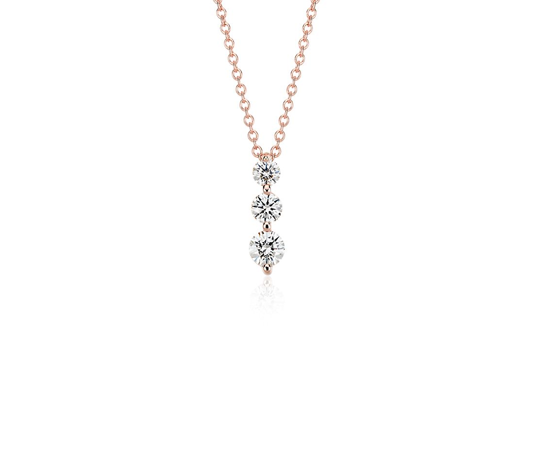 Three-Stone Drop Diamond Pendant in 18k Rose Gold (1/2 ct. tw.)
