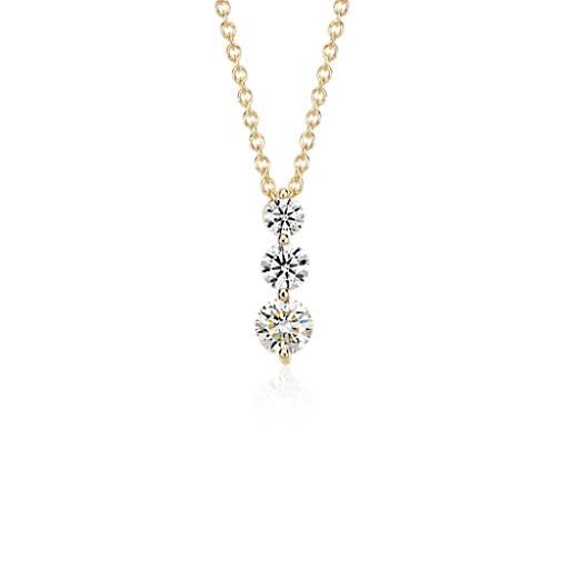 threestone drop diamond pendant in 18k yellow gold 1 ct
