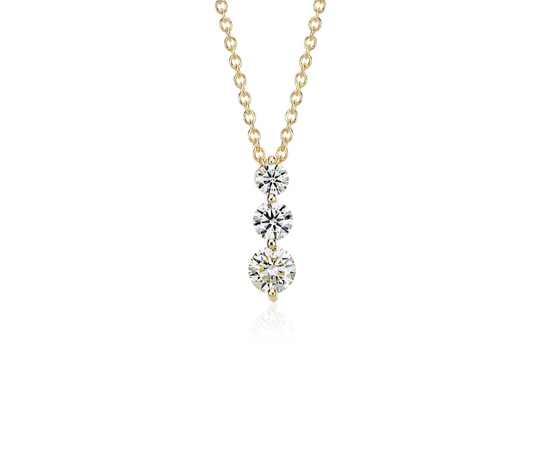 Three-Stone Drop Diamond Pendant in 18k Yellow Gold (1 ct. tw.)
