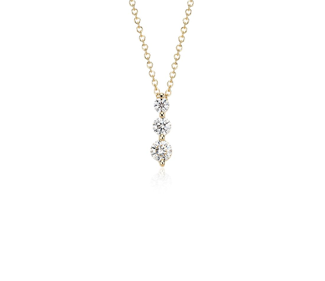 Three-Stone Drop Diamond Pendant in 18k Yellow Gold (0.50 ct. tw.)