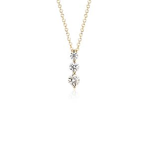 Three-Stone Drop Diamond Pendant in 18k Yellow Gold (1/2 ct. tw.)