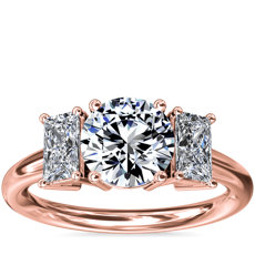NEW Three-Stone Elongated Princess Diamond Engagement Ring in 18k Rose Gold (1/2 ct. tw.)