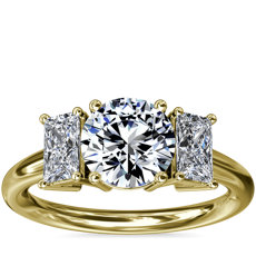 NEW Three-Stone Elongated Princess Diamond Engagement Ring in 18k Yellow Gold (1/2 ct. tw.)