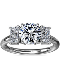 NEW Three-Stone Elongated Princess Diamond Engagement Ring in Platinum (1/2 ct. tw.)