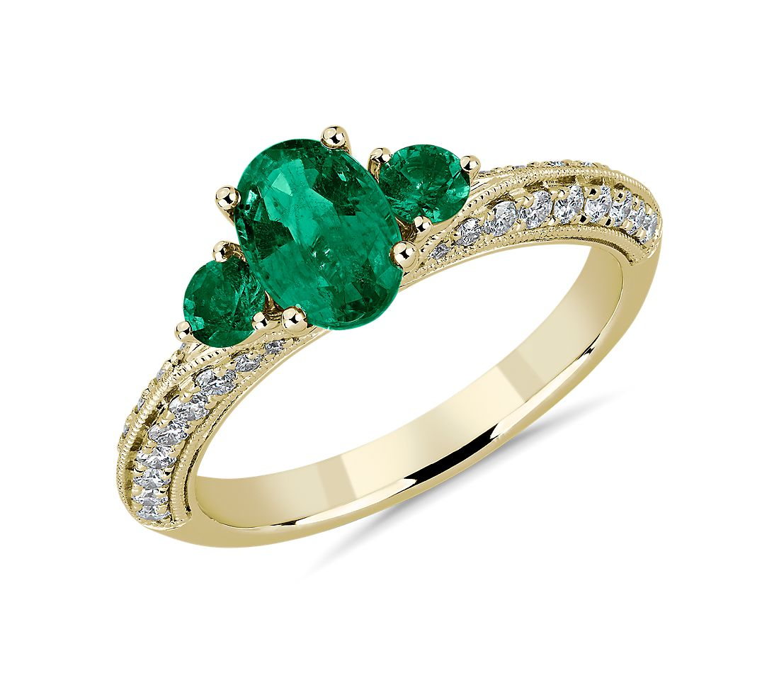 Three-Stone Emerald and Diamond Ring in 14k Yellow Gold