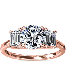 新款 18k 玫瑰金三石祖母绿形切割钻石订婚戒指(5/8 克拉总重量)