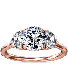 NEW Three-Stone Half-Moon Sidestone Diamond Engagement Ring in 18k Rose Gold (1/2 ct. tw.)