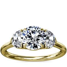 18k 黃金三石半月形輔石鑽石訂婚戒指(1/2 克拉總重量)