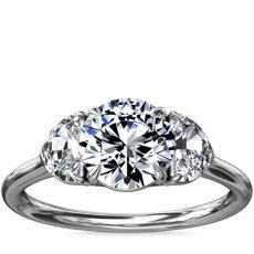 Three-Stone Half-Moon Sidestone Diamond Engagement Ring in Platinum (1/2 ct. tw.)