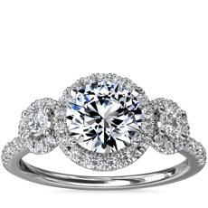 新款 14k 白金三石光环钻石订婚戒指
