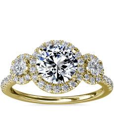 新款 14k 金三石光环钻石订婚戒指