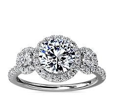 NEW Three-Stone Halo Diamond Engagement Ring in Platinum