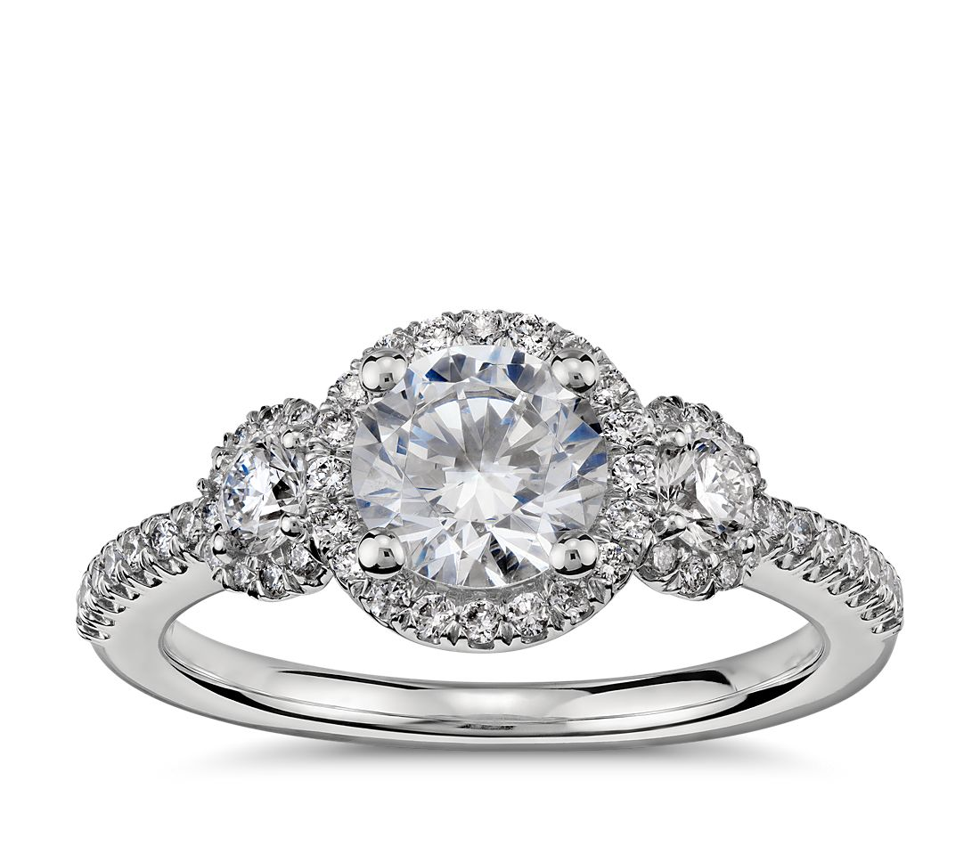 Engagement Rings No Stone: Three Stone Halo Diamond Engagement Ring In Platinum