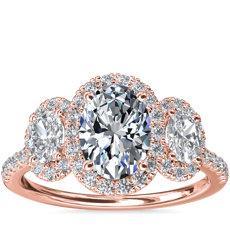 新款 14k 玫瑰金三石橢圓形光環鑽石訂婚戒指
