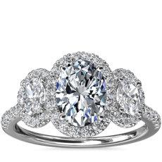 新款铂金三石椭圆形光环钻石订婚戒指