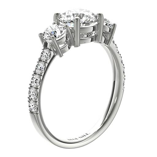 Three-Stone Pavé Diamond Engagement Ring