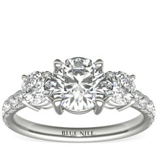 Three-Stone Pavé Diamond Engagement Ring in 14k White Gold (0.25 ct. tw.)