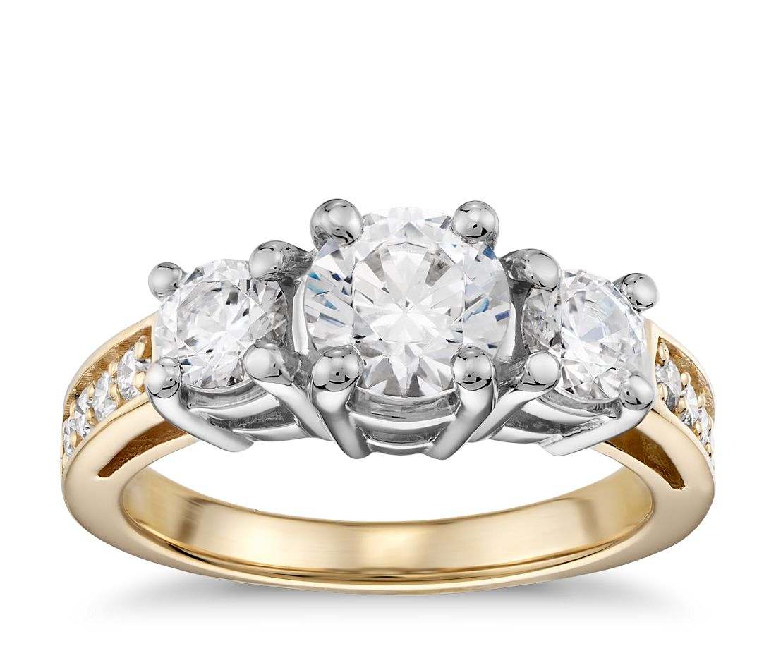 Three-Stone Pavé Diamond Engagement Ring in 18k Yellow Gold (1/4 ct. tw.)