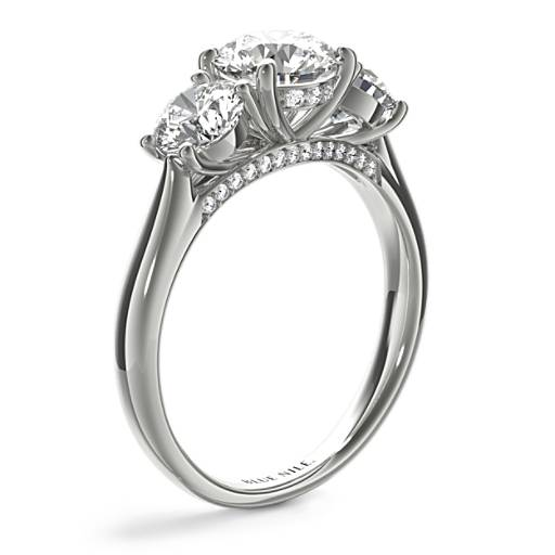 Three-Stone Pavé Gallery Diamond Engagement Ring