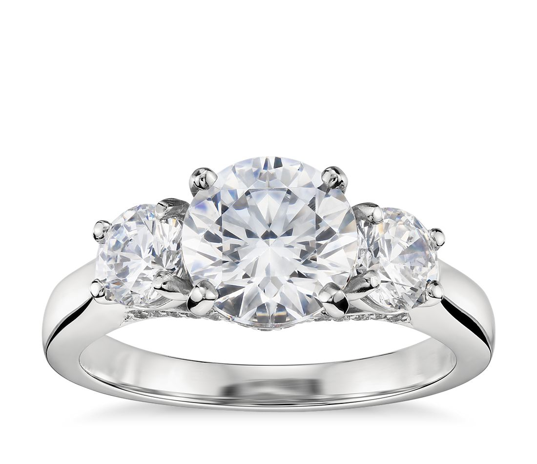 three stone pav gallery diamond engagement ring in platinum - 3 Stone Wedding Rings
