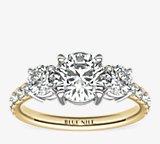 Classic Three-Stone Pave Diamond Engagement Ring