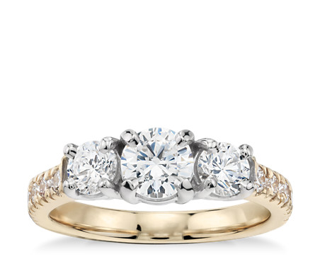 Classic Three Stone Pave Diamond Engagement Ring In 18k