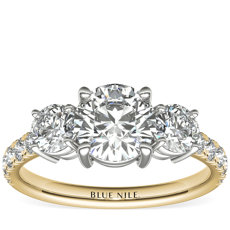 Classic Three-Stone Pave Diamond Engagement Ring in 18k Yellow Gold (0.25 ct. tw.)