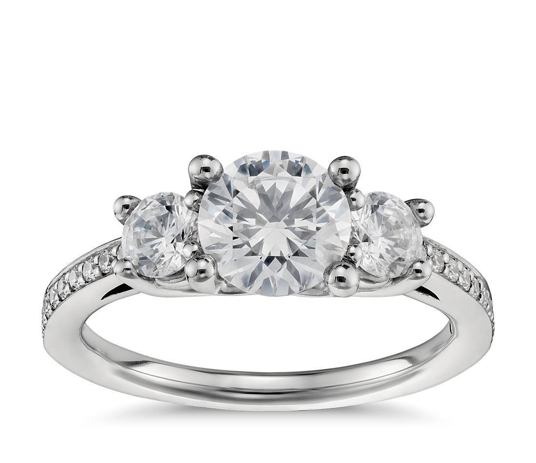 three stone pav diamond engagement ring in platinum 23 ct tw - Stone Wedding Rings