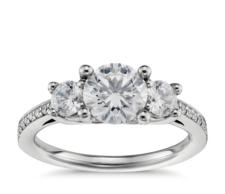 ring engagement three rings round lafonn wedding stone