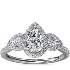 NEW Three-Stone Pear Halo Diamond Engagement Ring in 14k White Gold