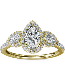 NEW Three-Stone Pear Halo Diamond Engagement Ring in 14k Yellow Gold