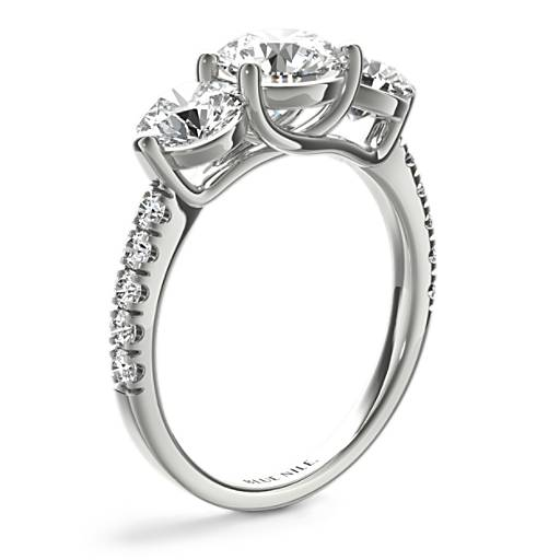 Three Stone Petite Pave Trellis Diamond Engagement Ring