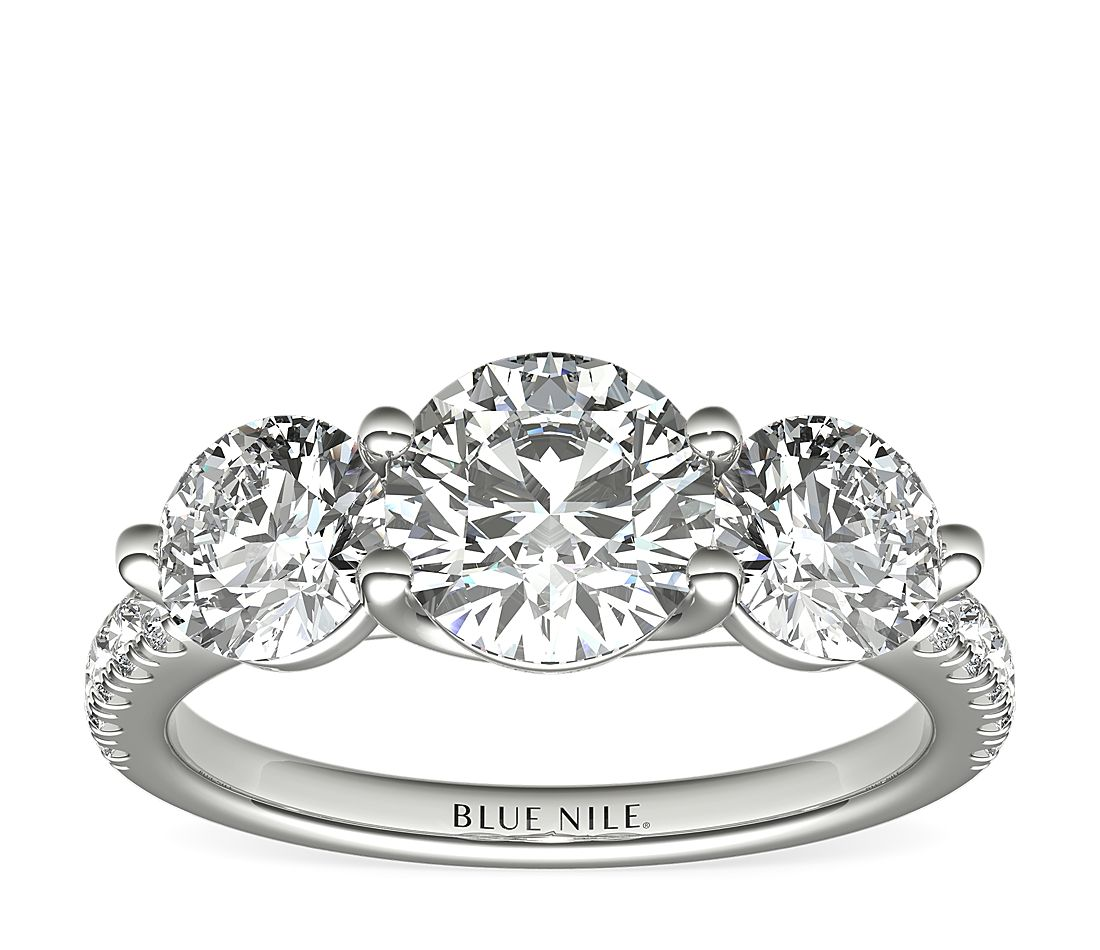 Three Stone Petite Pave Trellis Diamond Engagement Ring In