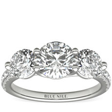 Three-Stone Petite Pave Trellis Diamond Engagement Ring in 14k White Gold