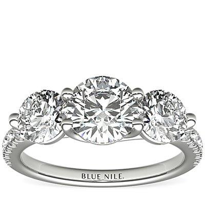 Three-Stone Petite Pave Trellis Diamond Engagement Ring in Platinum