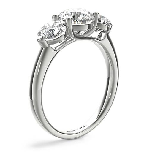 Three-Stone Petite Trellis Diamond Engagement Ring