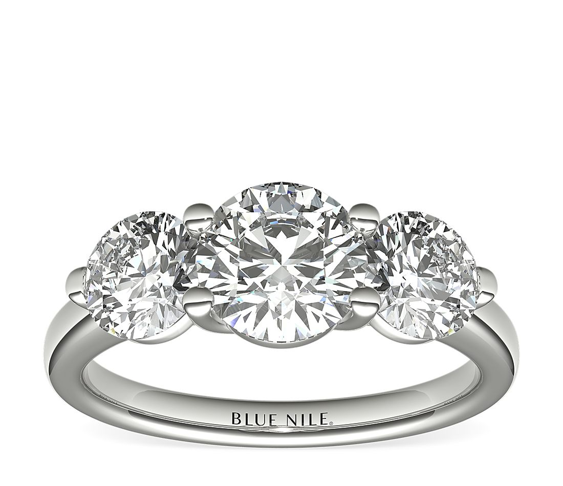 Three Stone Petite Trellis Diamond Engagement Ring In 14k