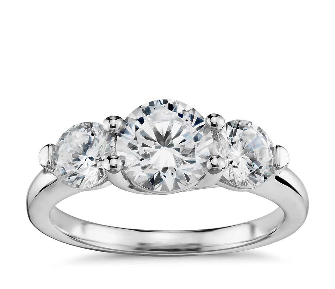 Three-Stone Petite Trellis Diamond Engagement Ring In 14k