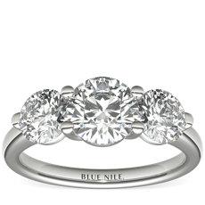 14k 白金三石凉亭钻石订婚戒指