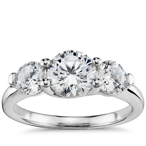 Three Stone Petite Trellis Diamond Engagement Ring In