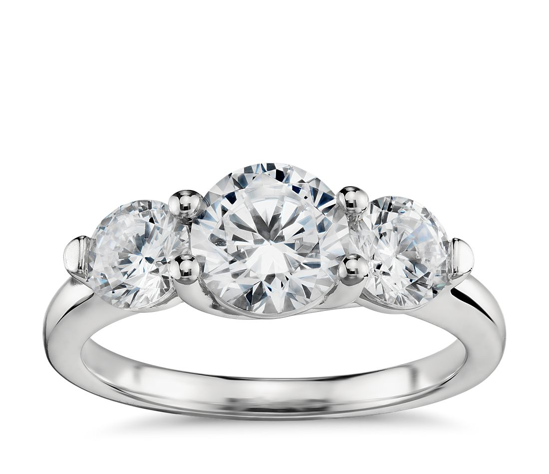 three stone petite trellis diamond engagement ring in platinum - Stone Wedding Rings