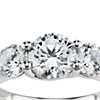 Three-Stone Petite Trellis Diamond Engagement Ring in Platinum