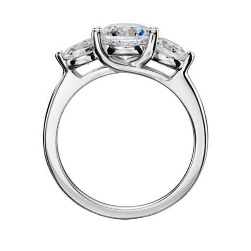 Three-Stone Petite Trellis Diamond Engagement Ring