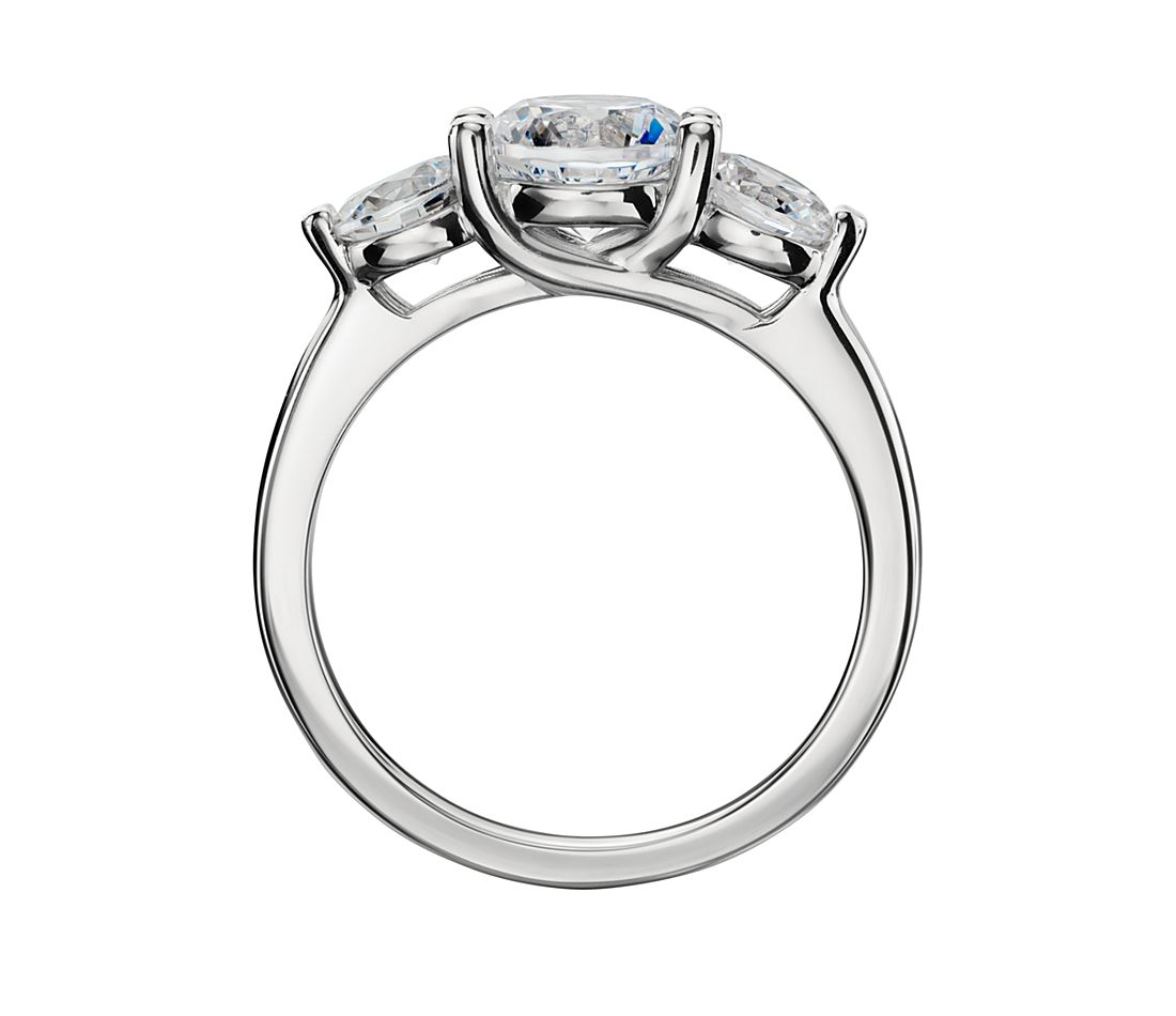 Three Stone Petite Trellis Diamond Engagement Ring In