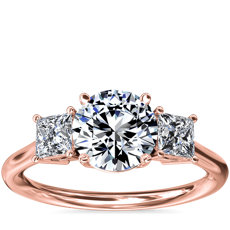 NEW Three-Stone Princess Diamond Engagement Ring in 18k Rose Gold (1/3 ct. tw.)